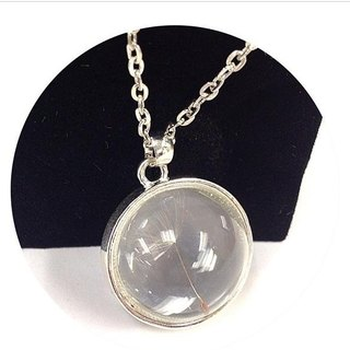■ AHM Handmade ■ three-dimensional spherical dandelion glass pendant silver ring