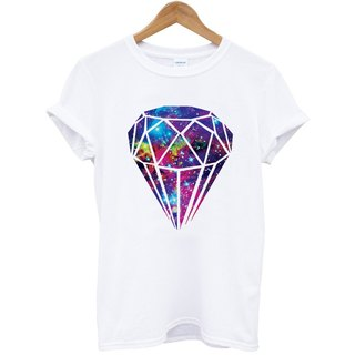 Diamond-Galaxy # 3 short-sleeved T-shirt - white diamonds galactic cosmic design photo