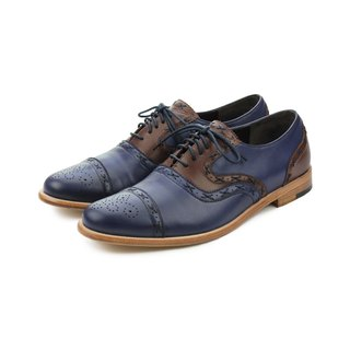 Poppy M1093C Blue Brown leather oxford shoes