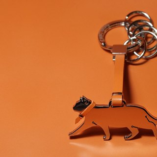 Shaped stainless steel leather key ring - dog / cat