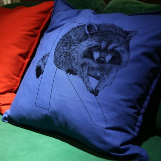 [R] accoon Raccoon: letters painted pillow