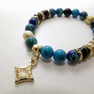 Golden halo earth turquoise hand chain ore bracelet