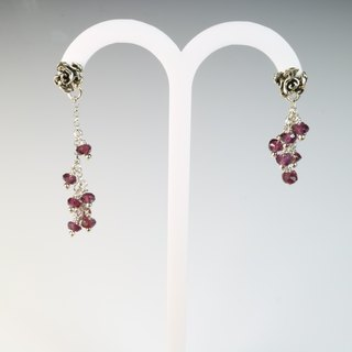 [] Natural garnet ColorDay Changeable Silver earrings <Garnet Silver Earring>