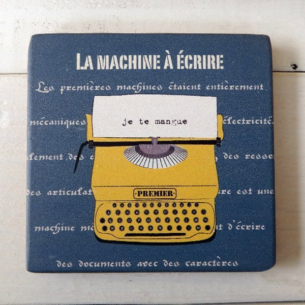 COSTER-WOODEN-LA MACHINE A ECRIRE-YELLOW