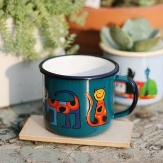 Smaltum Prague Enamel Cup Round Meow _ Blue Green (350ml) (FDN000186)