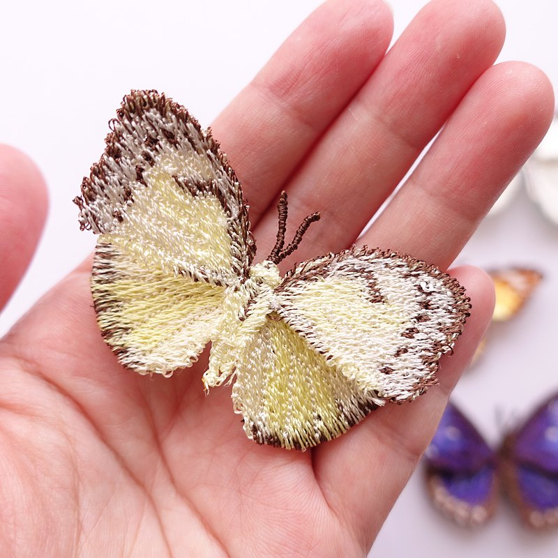 Embroidery Butterfly Brooch Clip Ring / Lemon Emigrant Butterfly (small)