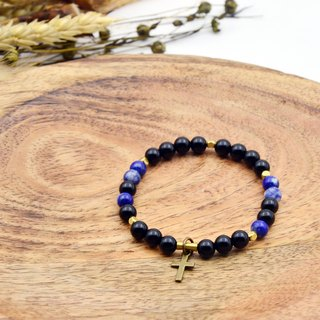 Permanent Night | Black Agate Lapis Stone | Natural Stone Brass Bracelet