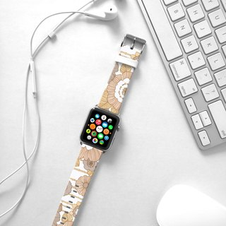 Apple Watch Series 1 , Series 2, Series 3 - Beige Rose Floral pattern Watch Strap Band for Apple Watch / Apple Watch Sport - 38 mm / 42 mm avilable