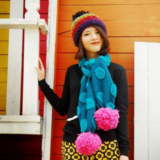 MR.STORE handmade scarves lake blue stereoscopic large dot scarves