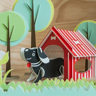 【Puzzle three-dimensional puzzle】 cute animal series / / Wangwang hut