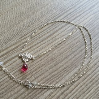 Ling Tung Kee located 925 sterling silver jewelry ~} {Rosenkavalier Silver Rose sterling silver rope natural glossy ruby ​​drop beads hand made necklace