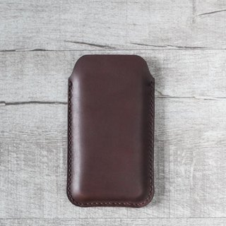 Dark brown natural genuine leather