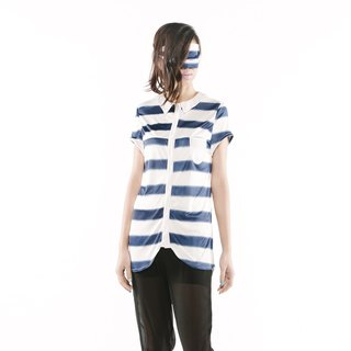 [Dress] arc hem shirt < blue white / black and white color x 2 >