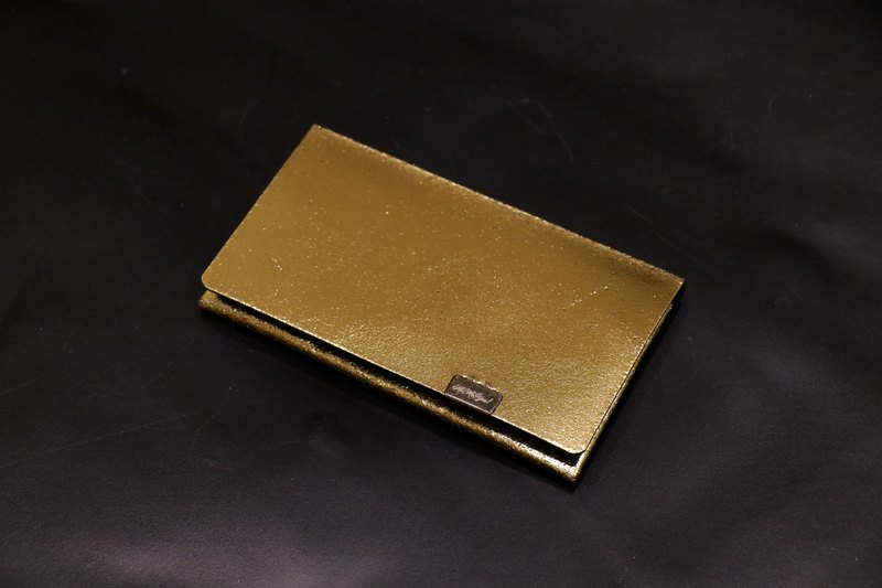 Japanese handmade - made Shosa vegetable tanned leather business card holder / clip - fashion introverted / gold black