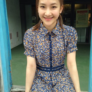~ Re: i fashion studio ~ Floral pressure car Ribbon Slim short-sleeved chiffon dress