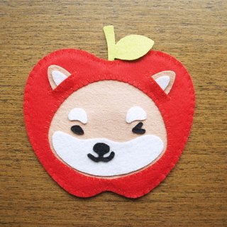 Mangogirl healing apple small Shiba Inu hand made coaster