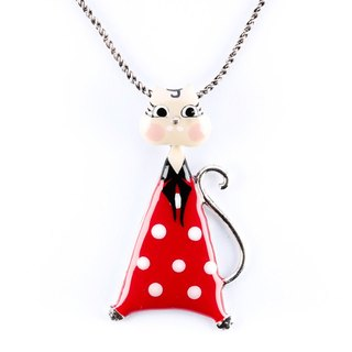 [Taratata smart cat series] Paris cold enamel color little pop style Roman Holiday cute cat necklace European style handmade jewelry