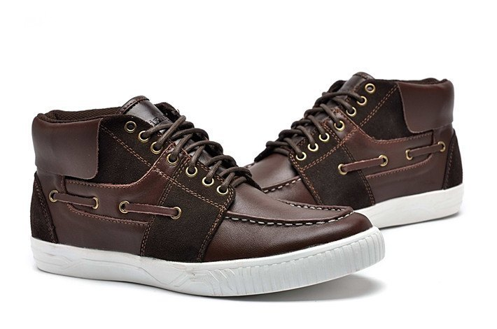 Sailboat double leather stitching leather shoes coffee