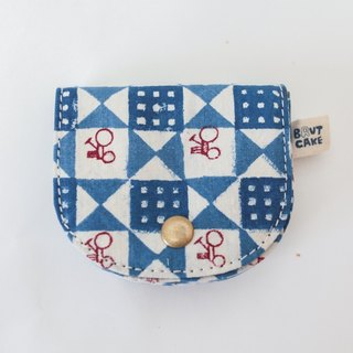 Brut Cake handmade fabric - vintage print coin wallet (1) limited item ! handy, large capacity