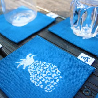 Handmade blue stained coaster / fruit