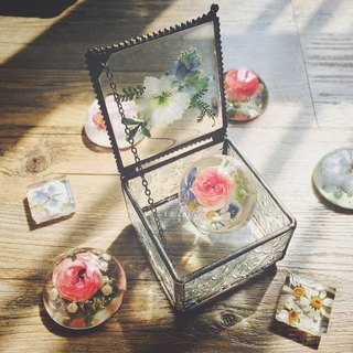 Pressedflower with Handwriting Accessory Glass Box