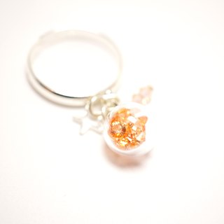 A Handmade pale orange crystal ball ring