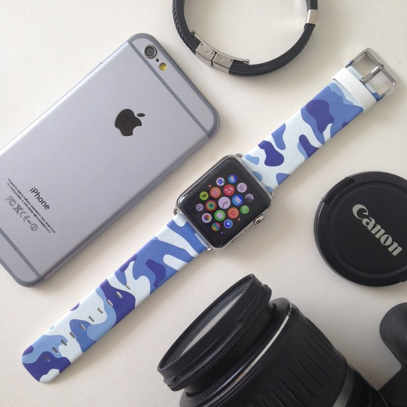 Camouflage Blue Printed on Leather watch band for Apple Watch Series1 - 5 Fitbit