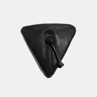 HÉRISSON D'OR triangular coin purse - black drop sheepskin