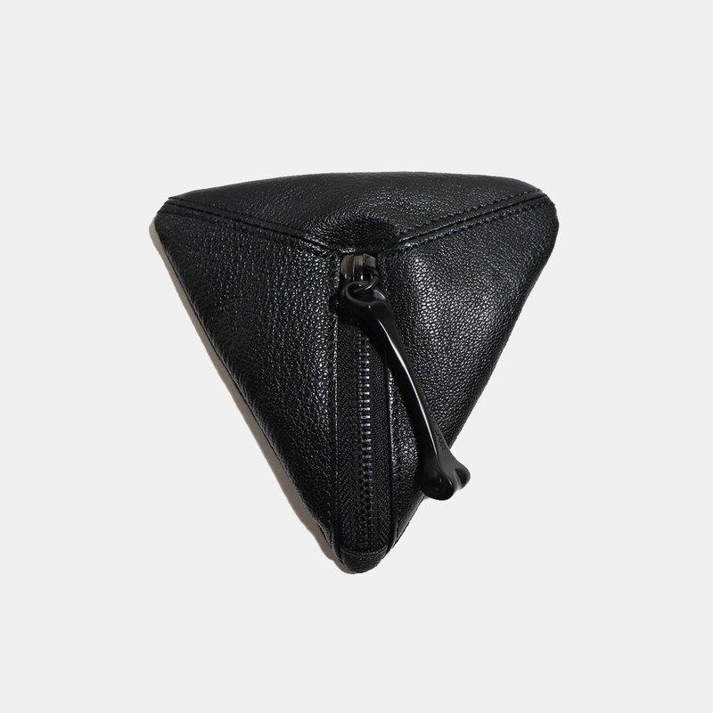 HÉRISSON D'OR 三角零錢包-黑色摔紋羊皮