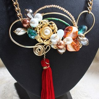Vintage Golden Button, Colourful Crystal and Pearl, Shell and Red Tassel with Golden Wire Wrapped Necklace (N129)