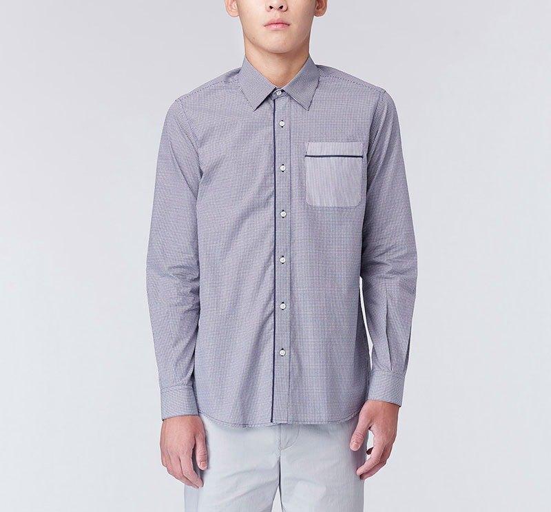 出芽單口袋正式長袖襯衫