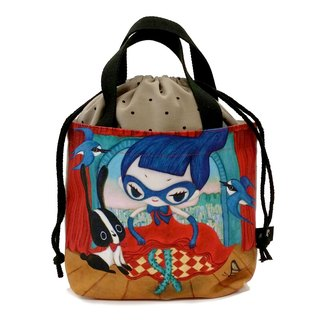 Rope Handbag [Rose Dance] FlyingSofye Illustration. Lunch bag (single-sided printing)
