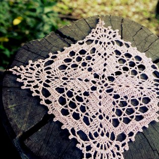 Hand for - pink brick corners lace pad.
