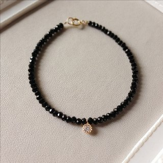"""KeepitPetite"" aristocratic black beads · · Jie Keqie face mini-zircon bracelet • bracelet gift"