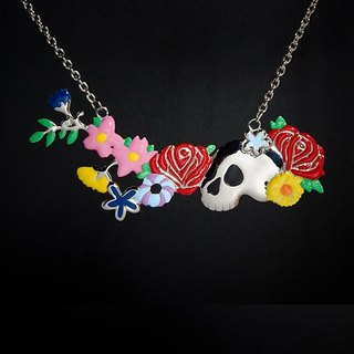 Love blooms, life ends necklace with skull and colorful flowers