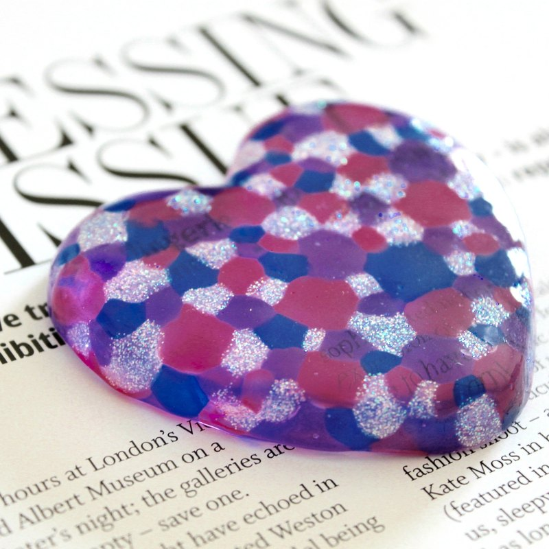 Royal Blue Pink Violet Colorful Bubbles Art Glass Heart Paper Weight Decor