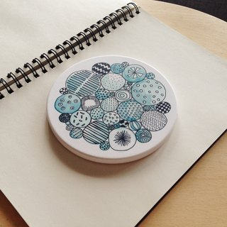 White Thick Porcelain illustrated print Drink Coaster - Mushroom