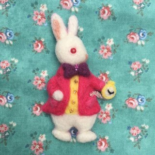 Mr. White Rabbit - Hand made wool felt pins