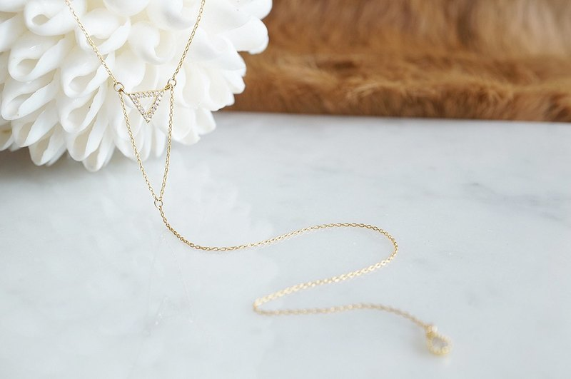 【14 KGF】 Long Y-Necklace, Double Triangle