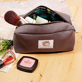 Beauty Bag Without Inner Bag Pocket Small Rectangular Purple Gray