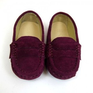 Fort Tony Wang leather handmade shoes kids [sheep / bean bottom / purple]