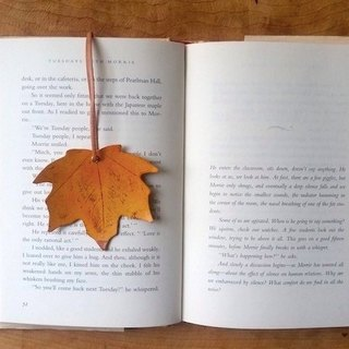 Leather leather - travel maple leaf bookmarks / accessories / card (leather maple leaves orange) - can be free guest exclusive English name / good sentence typing service