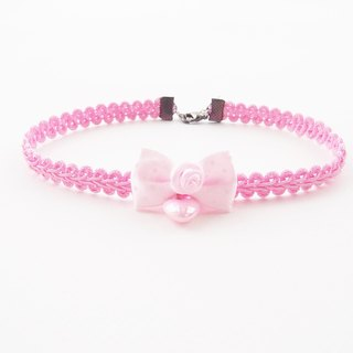 Pink choker/necklace with pink bow and pink heart