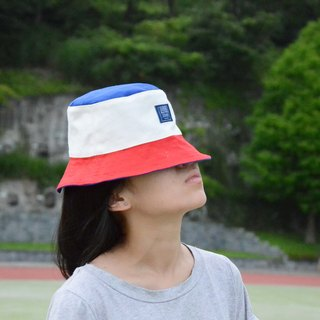::Bangstree:: Colorful canvas bucket hat-blue+white+red