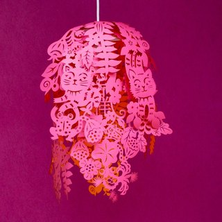 Utopia paper cutting lampshade / Garnet Red Paper-cut lampshades