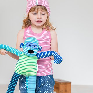 [Sweden] made of organic cotton Baby Toddler Toys Toys appease monkey blue / mixing