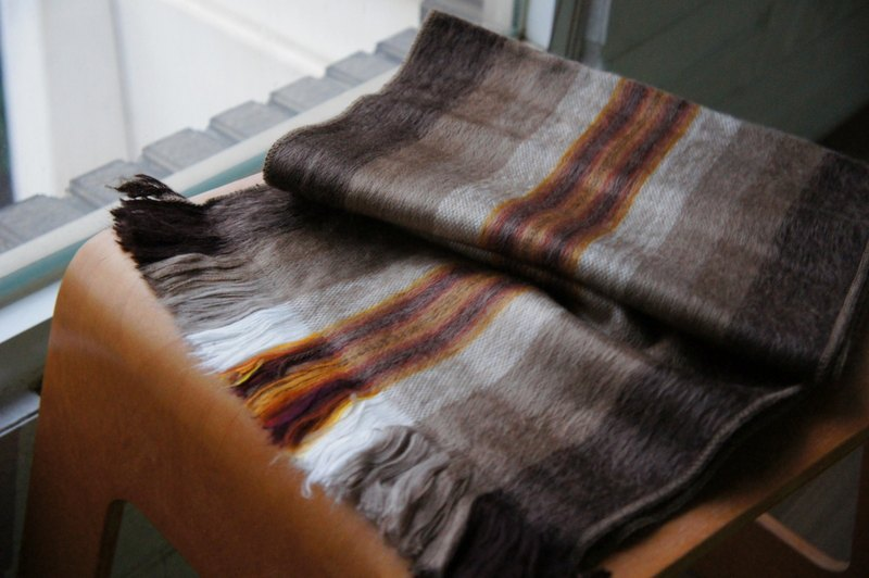 South American handmade alpaca scarf brown double line