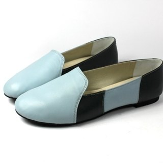 Stitching blue soft loafers