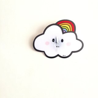Silent wall clock _ rainbow cloud