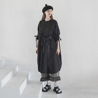 Black cotton cardigan long shirt personality - imakokoni
